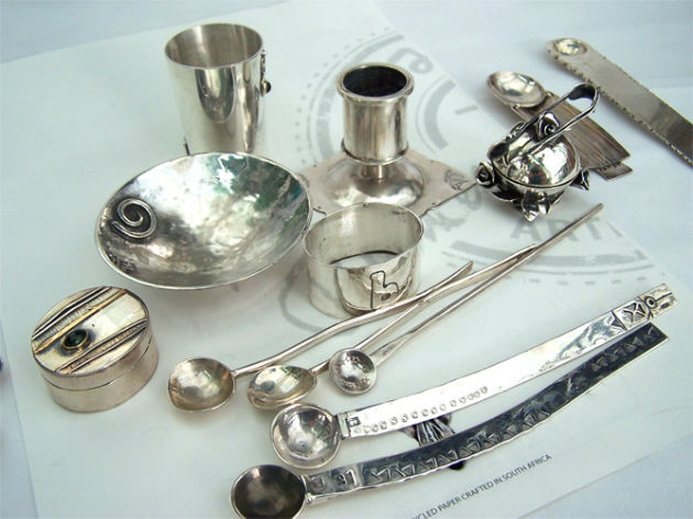 Silversmithed tableware