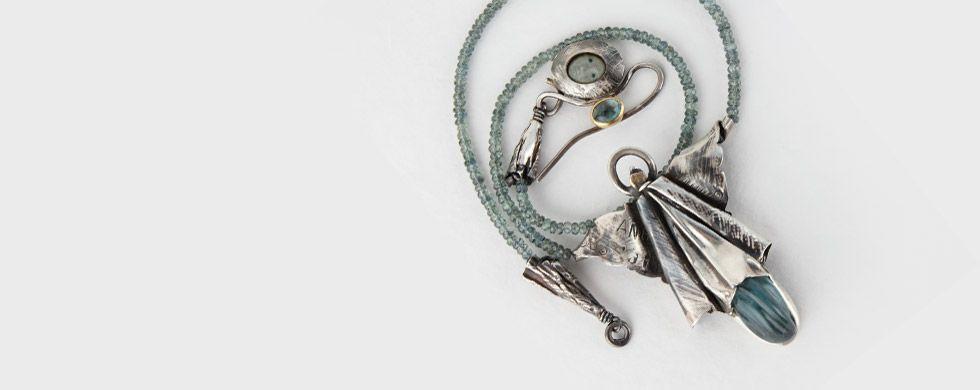 Mediterranea - Neckpiece, aquamarine, silver, gold and porcelain.